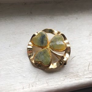 Vintage Gold Green Natural Stone Four Leaf Clover